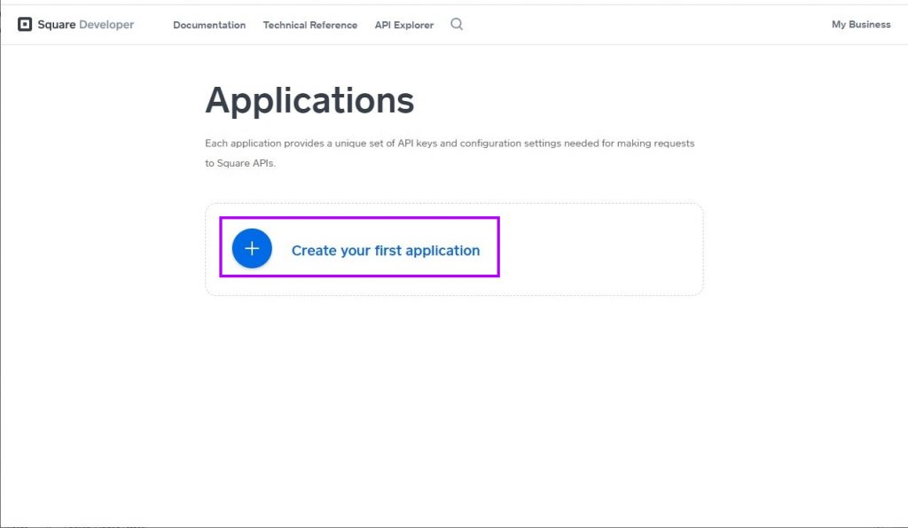 Click the button to create your first application