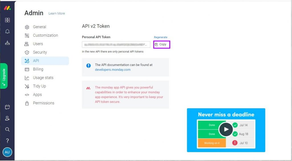 Copy your token to a safe location for use in the next steps