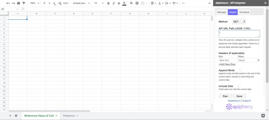Apipheny add-on open in Google Sheets