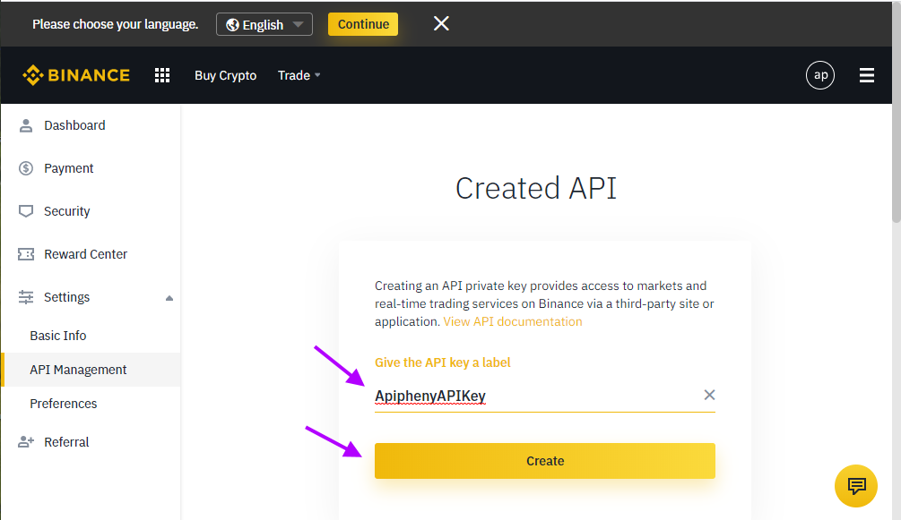 Create a Label For Your API Key