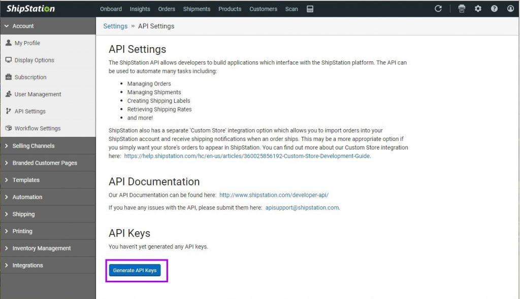 """Click """"Generate API Keys"""""""