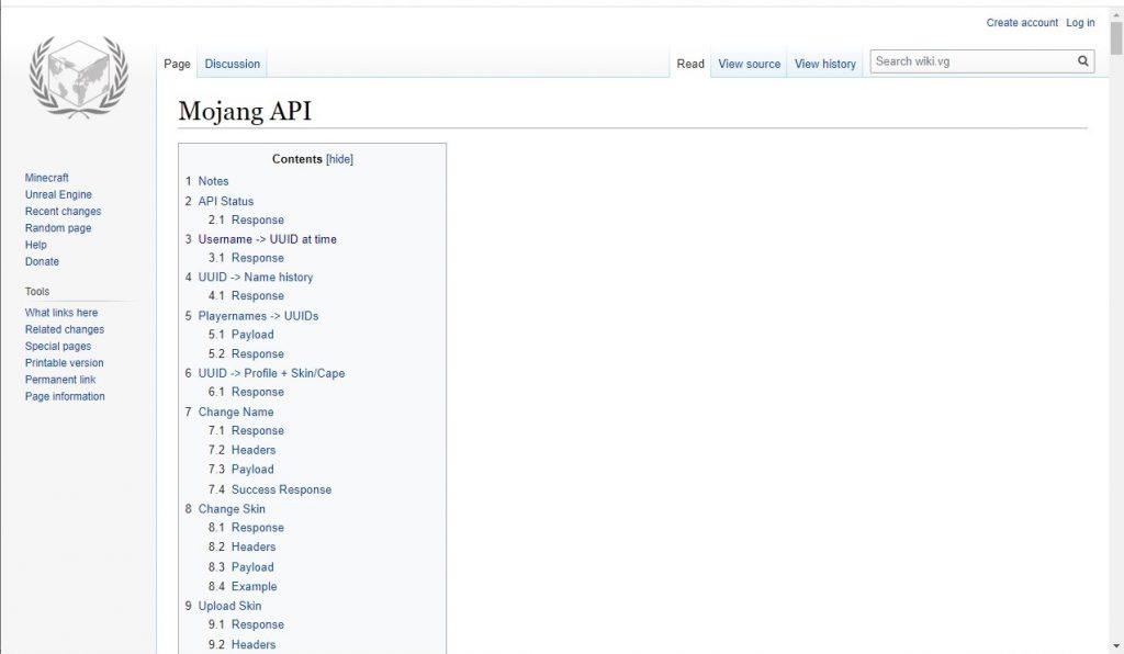 Minecraft API endpoints documentation