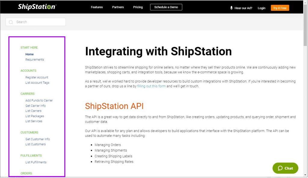 Shipstation API endpoints