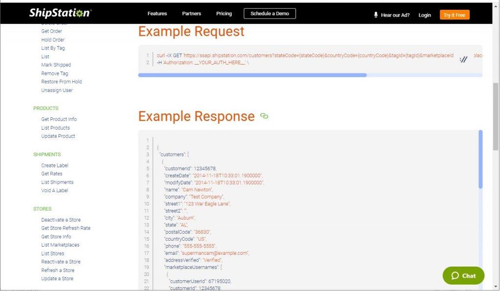 Shipstation API endpoint documentation example