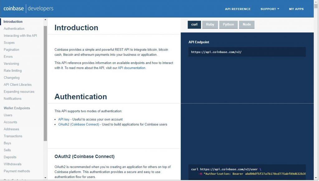 Coinbase documentation