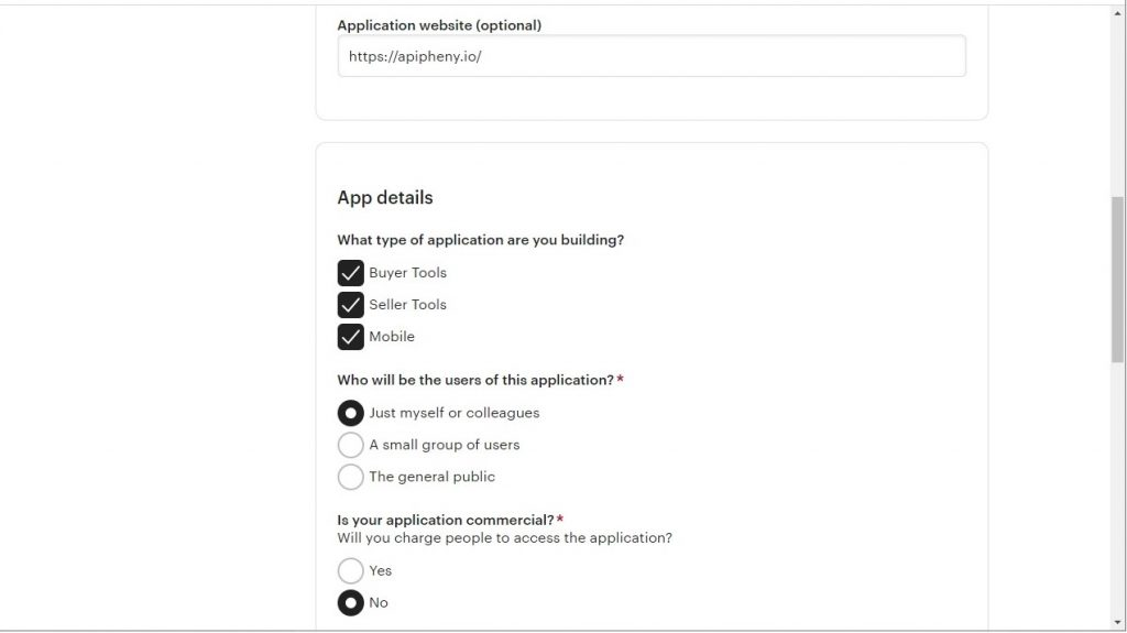 Fields to complete when registering a new app