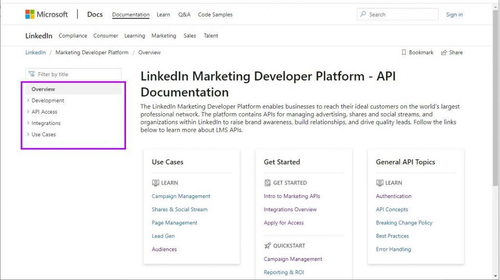 LinkedIn Ads API endpoints documentation