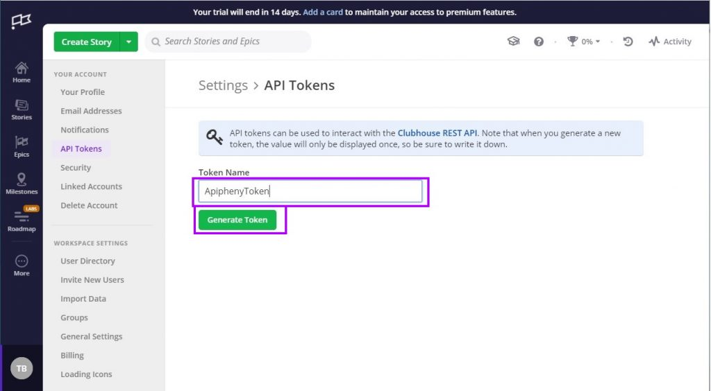 Clubhouse API Tokens section