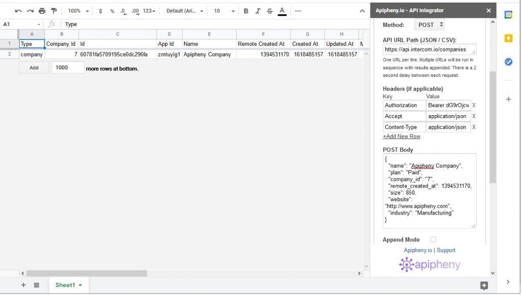 Intercom data imported into Google Sheets