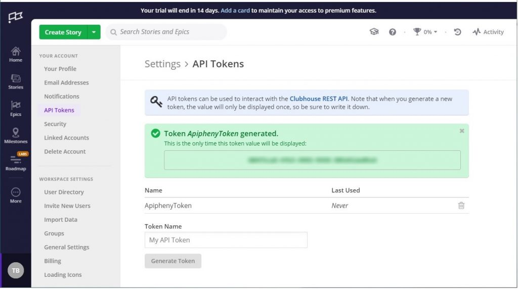 Clubhouse Generated Token