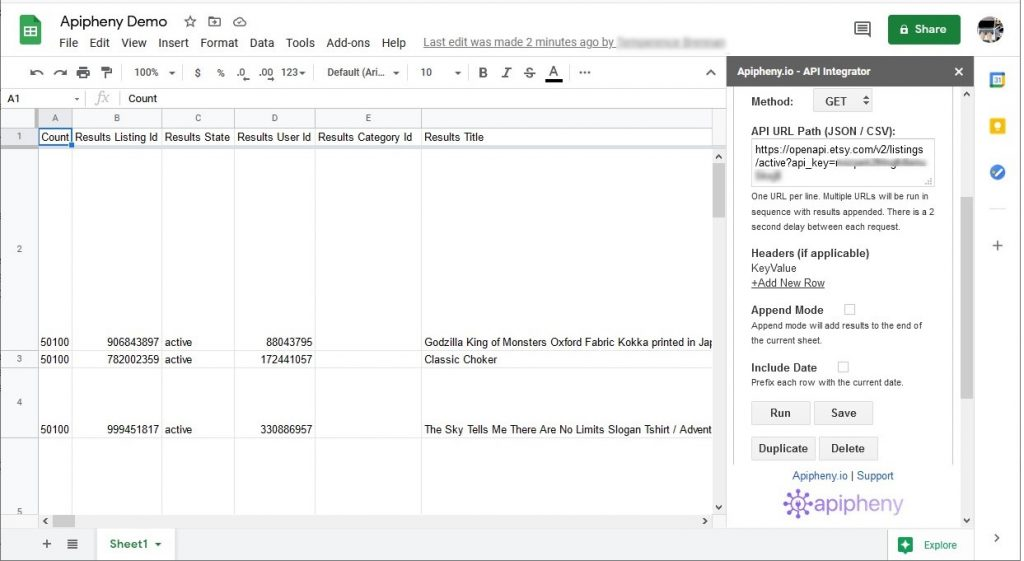 Etsy data imported into Google Sheets