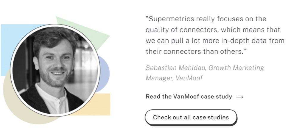 Review by Sebastian Mehldau on the Supermetrics website testimonials page.