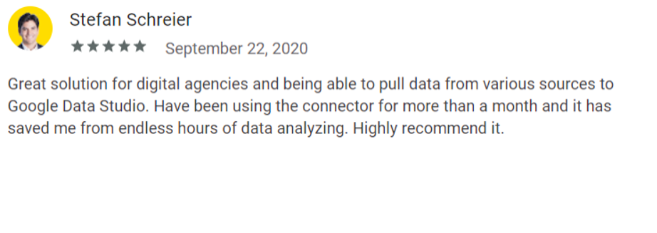 Review by Stefan Schreier on the Supermetrics Google Workspace Marketplace page.