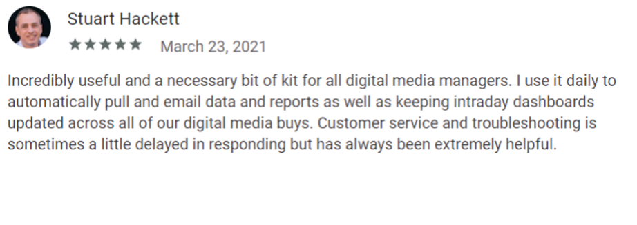 Review by Stuart Hackett on the Supermetrics Google Workspace Marketplace page.