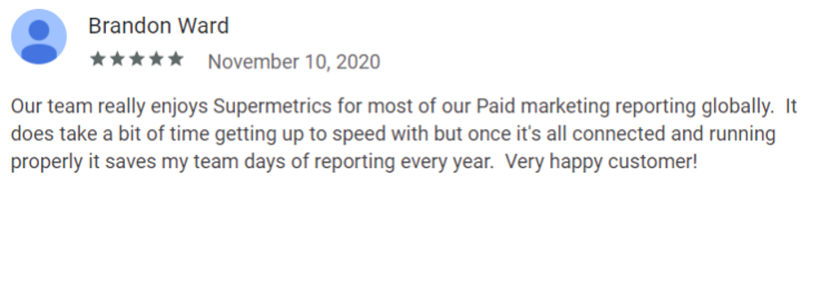 Review by Brandon Ward on the Supermetrics Google Workspace Marketplace page.