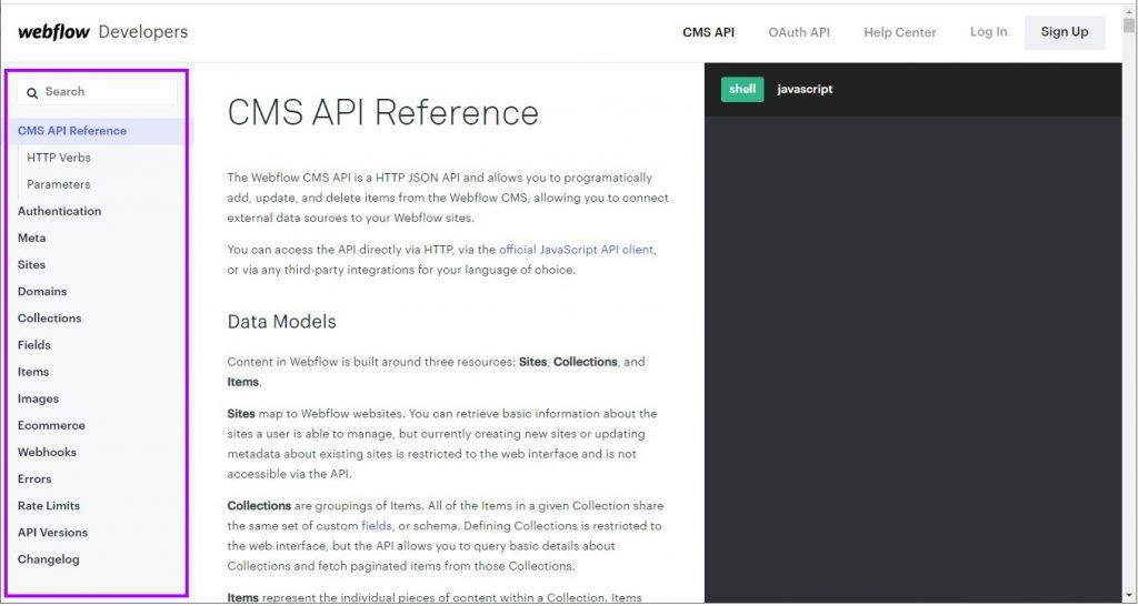 Webflow API documentation page