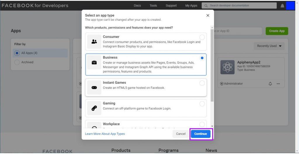 Select app type popup window