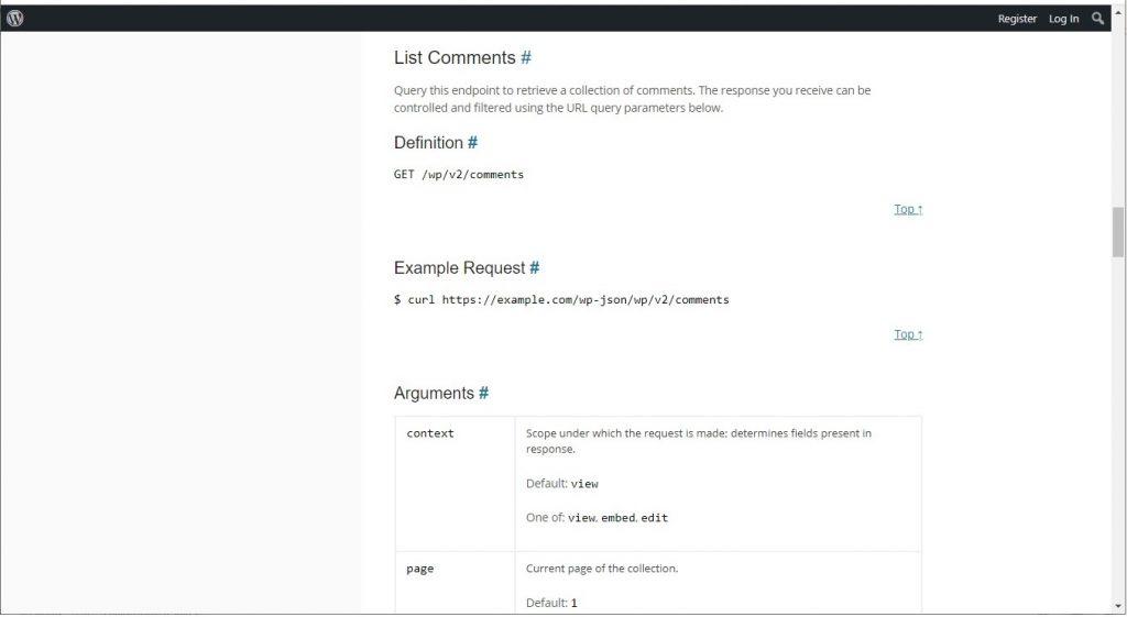 List comments endpoint
