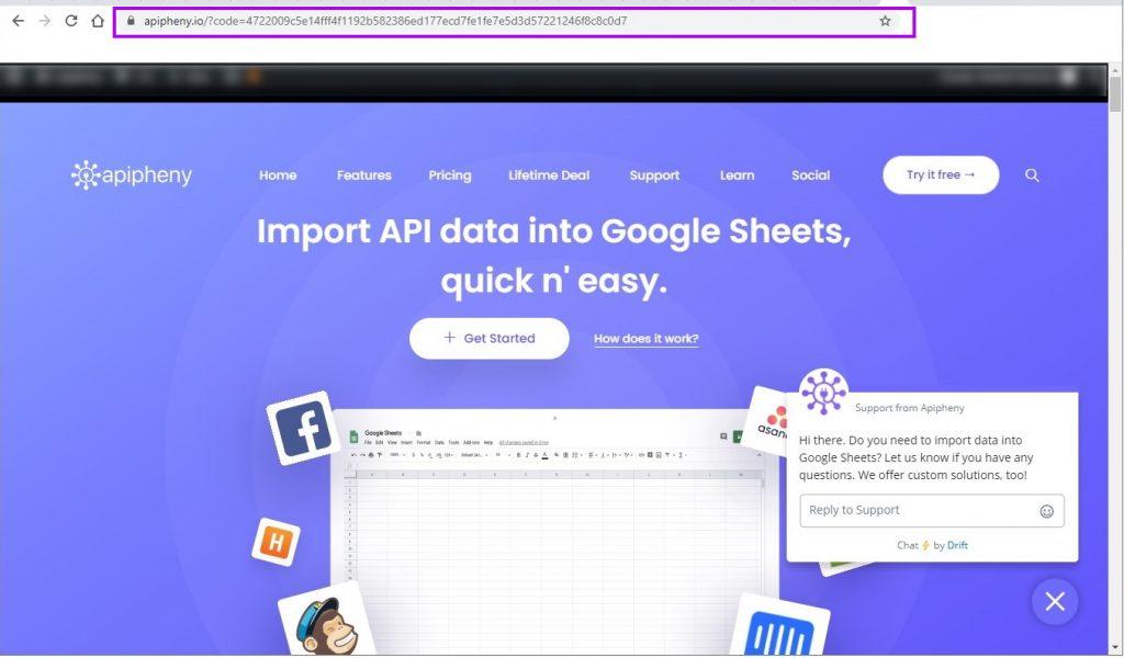 Code displayed in browser