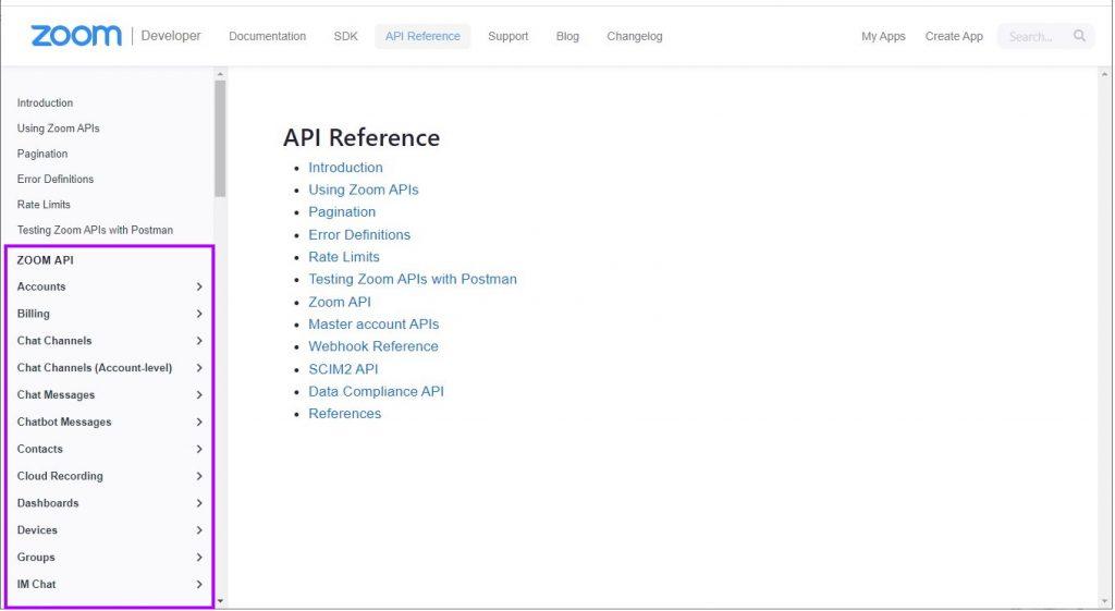 Zoom API documentation page