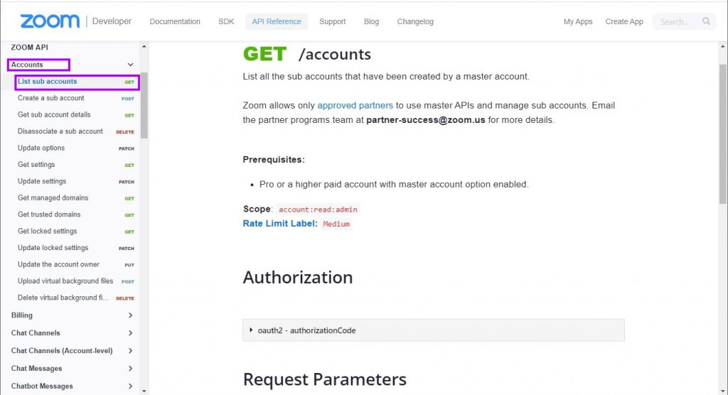 Accounts endpoint documentation page