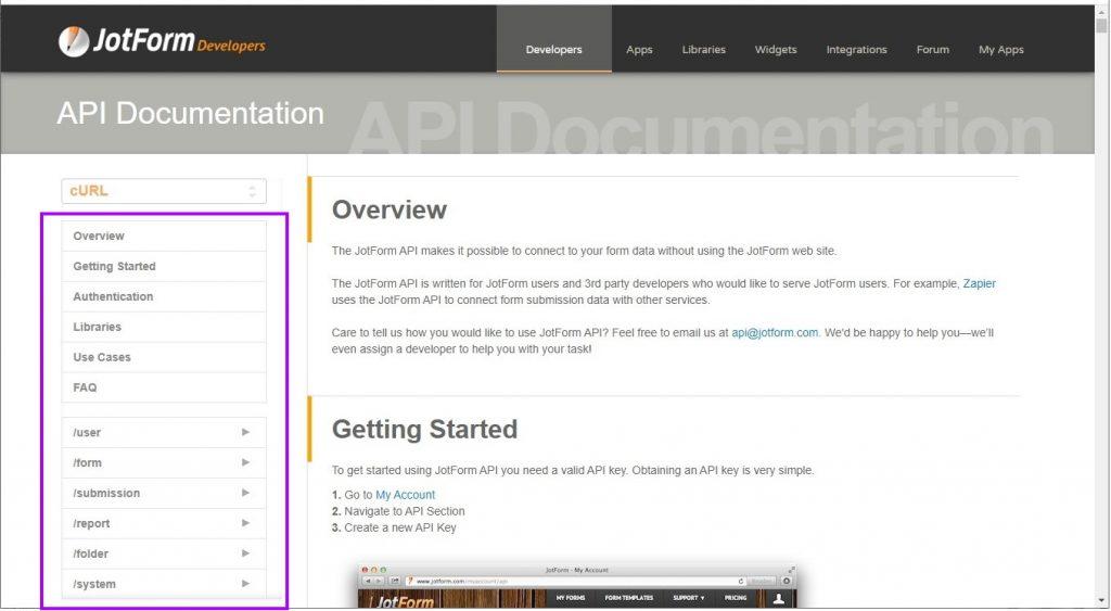 JotForm documentation page
