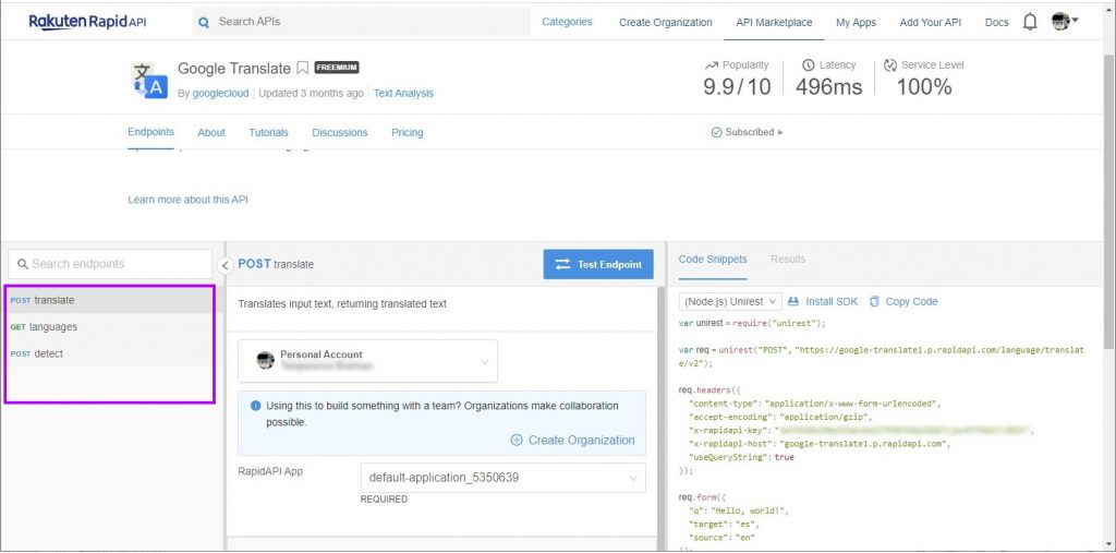 Google Translate API documentation page