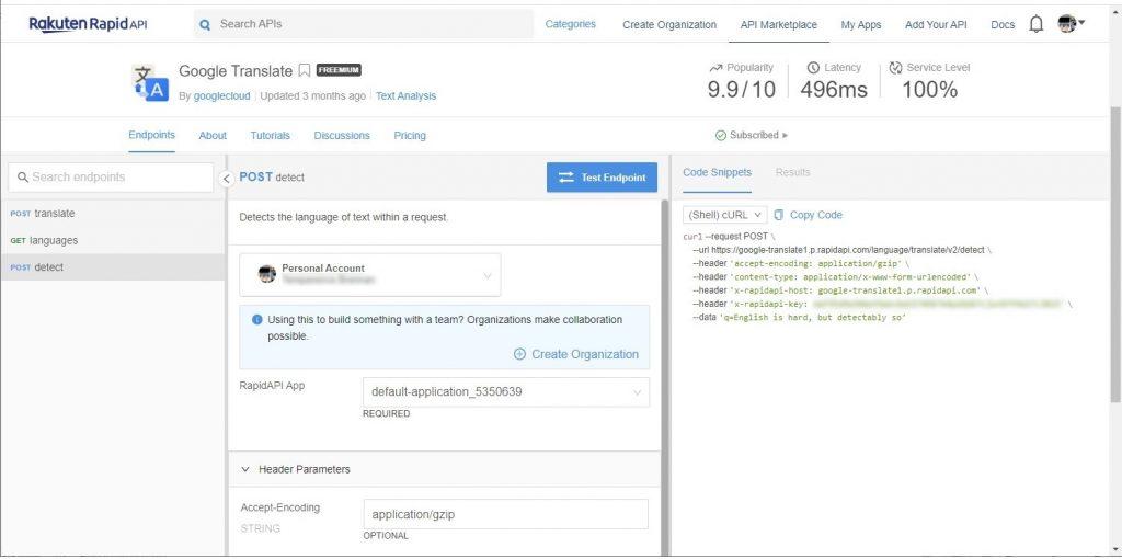 Google Translate endpoint documentation