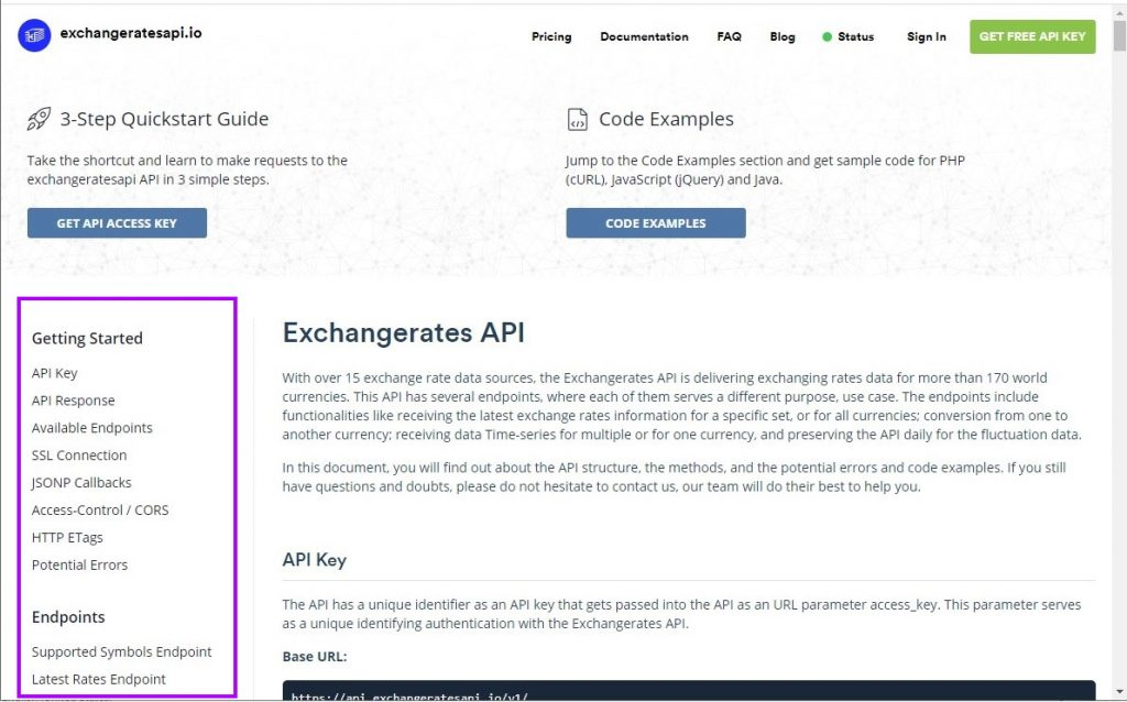 Exchangerates API documentation page