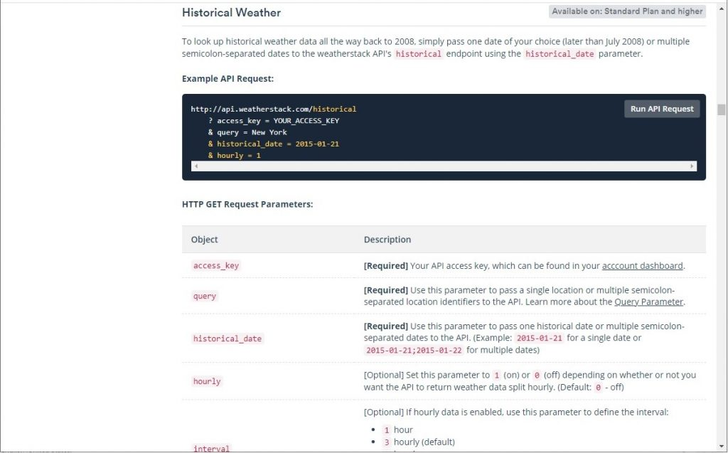 Historical Weather endpoint documentation