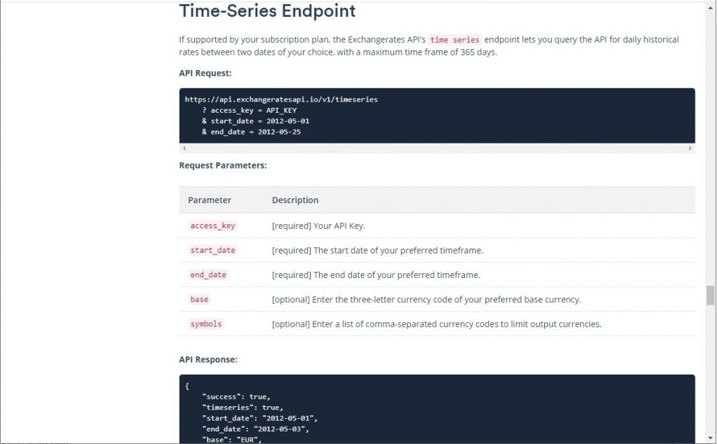 Time-Series Endpoint documentation