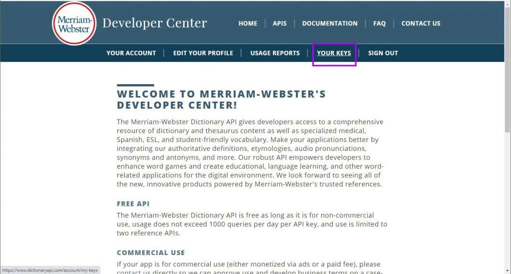 Merriam-Webster dashboard