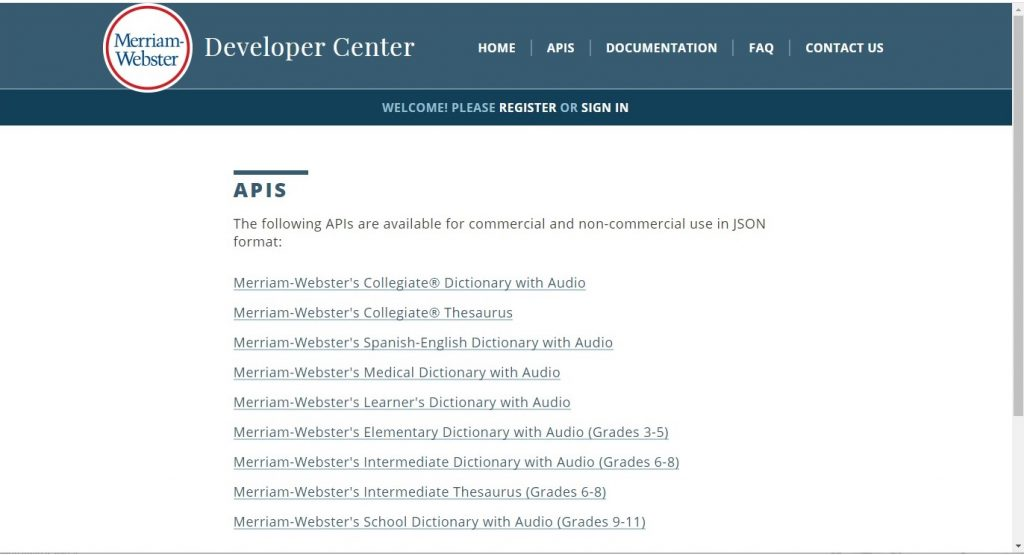 Merriam-Webster documentation page