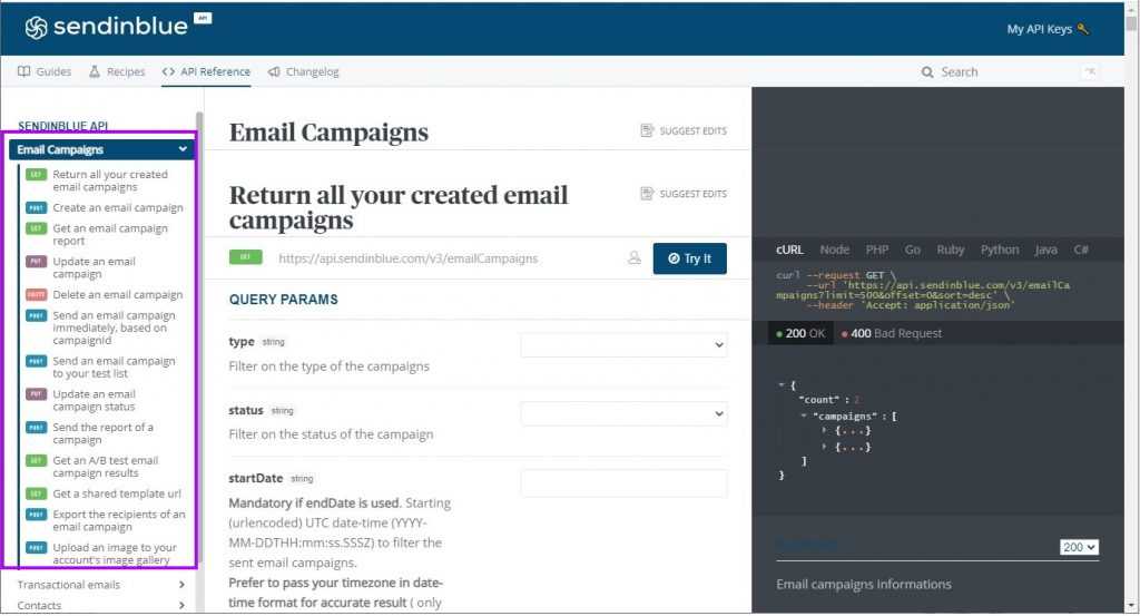 Email Campaigns category