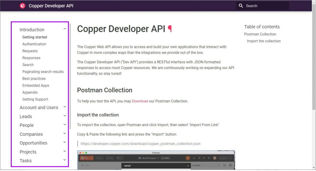 Copper API Documentation Page