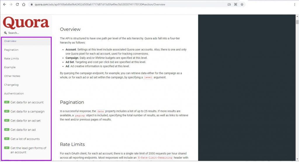 Quora API Documentation Page